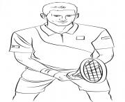Coloriage Tom joue au tennis avec Jerry comme balle dessin