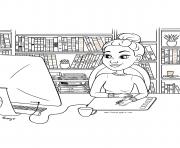 fille ado a la bibliotheque pour etudier dessin à colorier