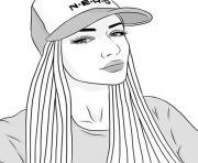 fille ado casquette swag dessin à colorier