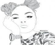fille ado swag dessin à colorier