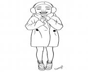 fille ado bien au chaud avec son manteau dessin à colorier
