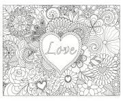 love coeur fille ado mandala dessin à colorier