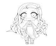 Chibi Nezuko demon slayer dessin à colorier