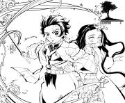 Kimetsu no yaiba manga demon slayer dessin à colorier