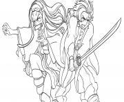 Coloriage Tanjiro and Nezuko in battle demon slayer dessin
