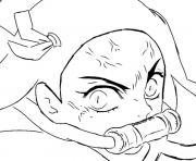 Coloriage Nezuko as a demon demon slayer dessin
