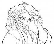 Sabito without mask demon slayer dessin à colorier