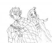 Coloriage Inosuke Hashibira with weapons demon slayer dessin