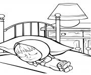 masha dort dans sa chambre pour se reposer dessin à colorier