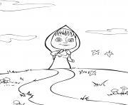 masha cherche son ami ours michka dessin à colorier