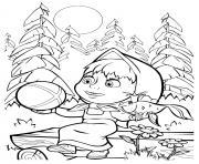 masha et un poisson dessin à colorier