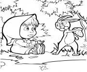 raskraska masha et le lievre avec une carotte dessin à colorier