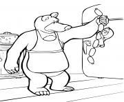 ours michka cuisine des saucisses dessin à colorier