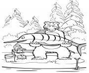 ours michka attrape un grand poisson dessin à colorier