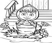 la petite fille masha est dans un seau dessin à colorier