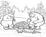 masha et michka patinent dans une foret dessin à colorier