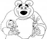 ours michka avec masha et le lievre dessin à colorier