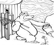 ours michka en direction de la peche dessin à colorier