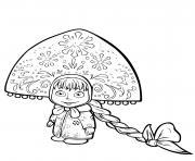 Masha dans une grande et belle kokoshnik dessin à colorier