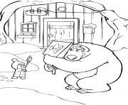 masha lance des boules de neiges sur ours michka dessin à colorier