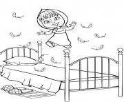 michka saute sur le lit dessin à colorier