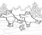 masha et michka dansent sur la glace dessin à colorier