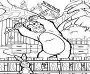 ours michka et le lievre dans le jardin dessin à colorier