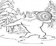 ours michka un athlete spotif de haut niveau dessin à colorier