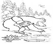 ours michka donne de la nourriture aux poissons dessin à colorier