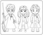 Harry Hermione and Ron dessin à colorier