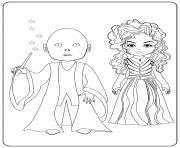 Voldemort and Bellatrix dessin à colorier