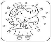fille celebre la saint patrick dessin à colorier