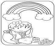 arc en ciel et lingots dor saint patrick dessin à colorier