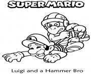 luigi attrape par hammer bro avec des cordes dessin à colorier