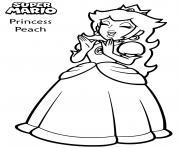princesse peach est excitee et tape des mains dessin à colorier