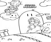 super mario en plein action dans le jeu dessin à colorier