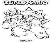 bowser dragon tortue dans super mario dessin à colorier