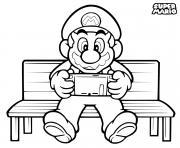 super mario bros joue a la nintendo switch dessin à colorier