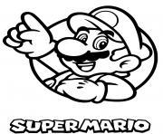 super mario bros avec logo classique dessin à colorier