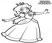 princesse peach heureuse avec un sourire dessin à colorier