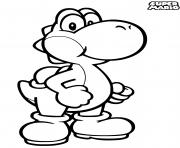 super mario yoshi petit dinosaure dessin à colorier