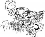 Garfield fait du basketball dessin à colorier
