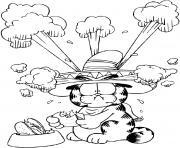 Garfield mange des hamburger au piment dessin à colorier