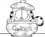 Garfield dans une boite a cookies dessin à colorier