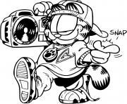 Coloriage Garfield fait du saut a ski dessin