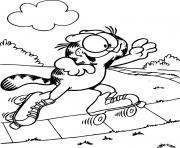 Garfield fait du patin a roulettes dessin à colorier