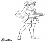 chef barbie cuisine des cupcakes dessin à colorier