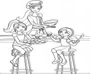 les filles preparent des cupcakes pour un anniversaire dessin à colorier