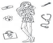 docteur animaux barbie veterinaire dessin à colorier