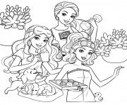 barbie et ses amis soiree entre filles dessin à colorier